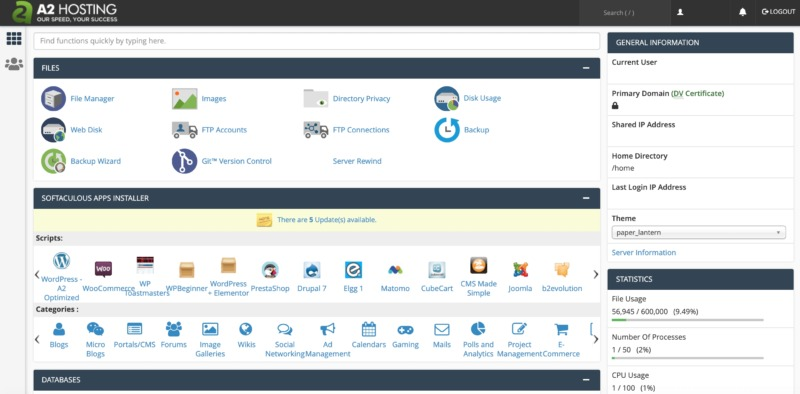 A2 Hosting's cPanel dashboard.
