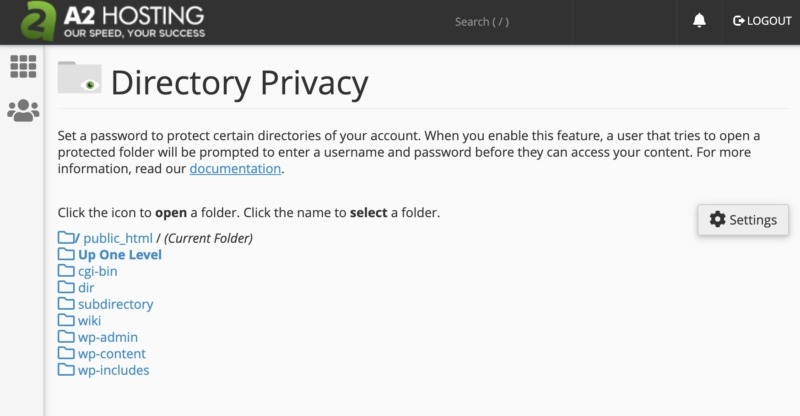 cPanel's Directory Privacy tool.