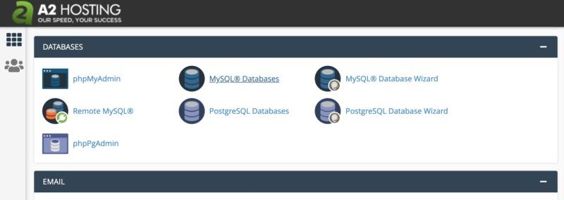 cPanel's MySQL database wizard.
