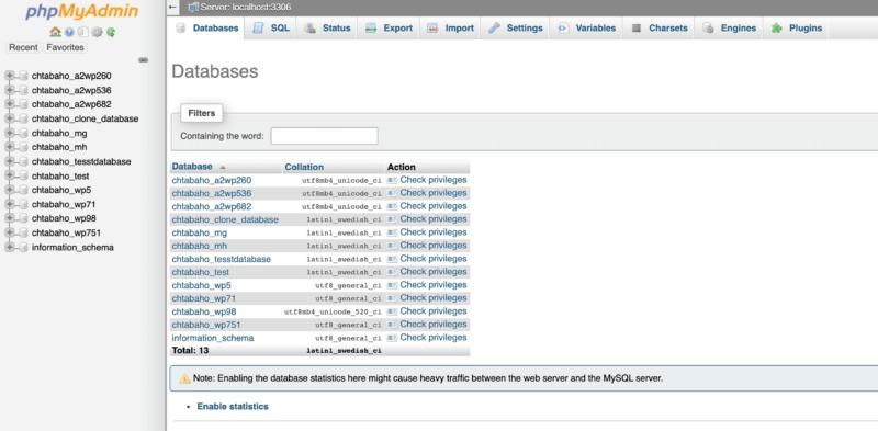 The phpMyAdmin dashboard.