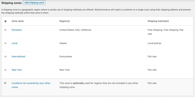 WooCommerce shipping zone settings.