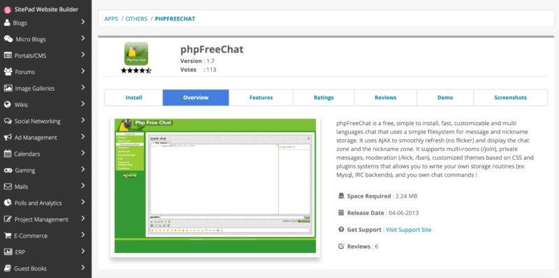 The phpFreeChat customer support tool.