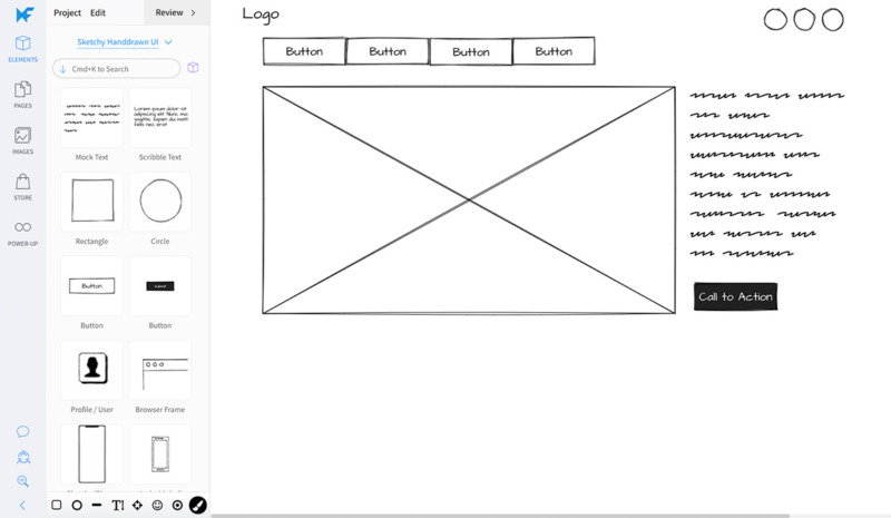 Sketch wireframe and design tool