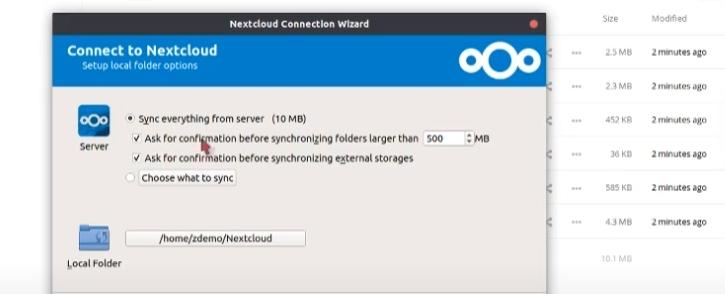 Syncing files in NextCloud.