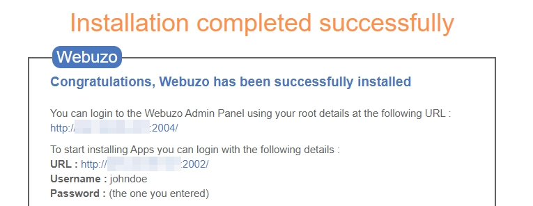 Webuzo's installation instructions.