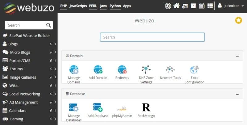 The Webuzo panel.