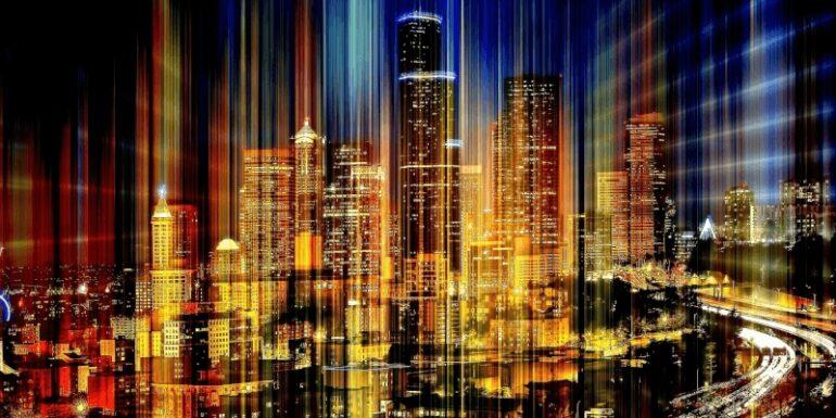 A colorful city skyline.