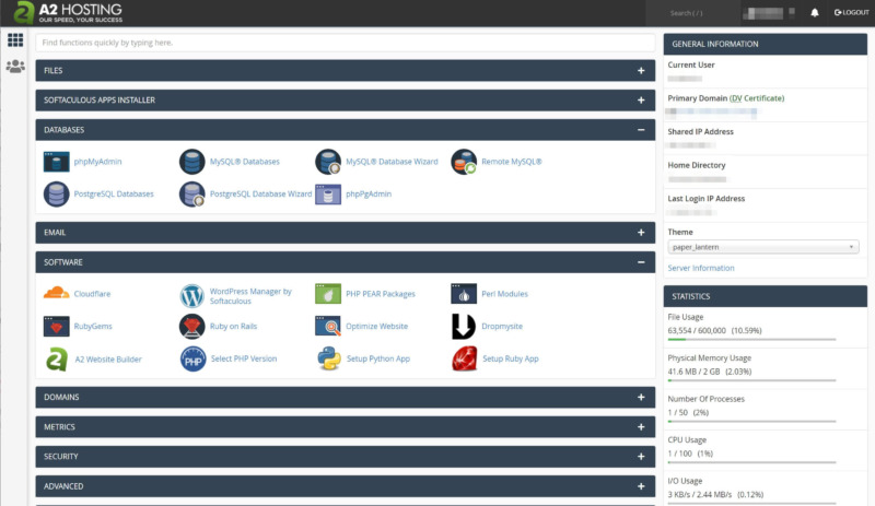 The main cPanel page in A2 Hosting.
