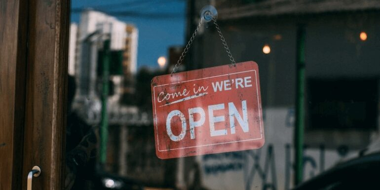 An 'Open For Business' sign.