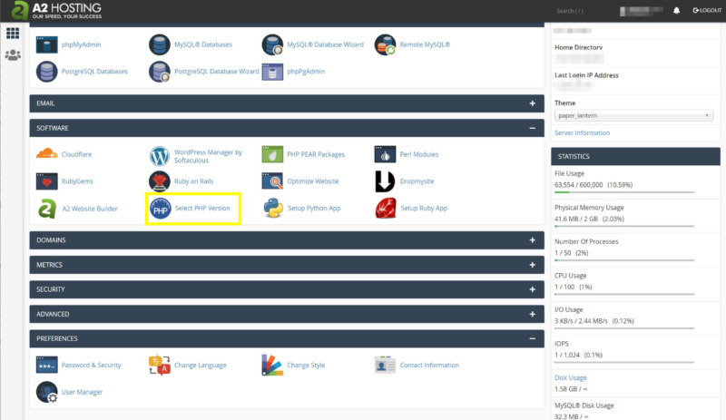 The Select PHP Version tool in cPanel.