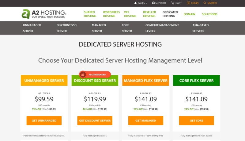 A2 Hosting dedicated hosting plans.
