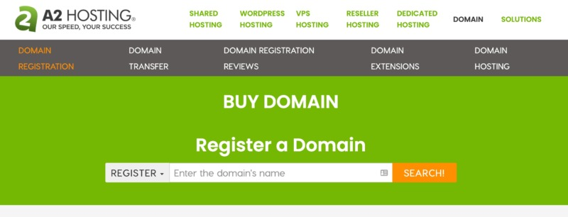 A2 Hostings register domain tool for moving your business online.