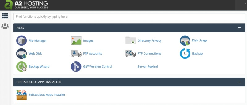 The A2 Hosting cPanel.