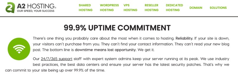 A2 Hosting's uptime guarantee for your business-critical site.