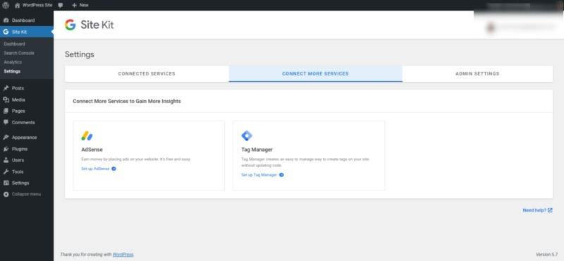 The option to set up Tag Manager via Google Site Kit.