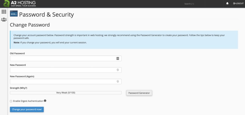 cPanel's password settings for your secure VPS.