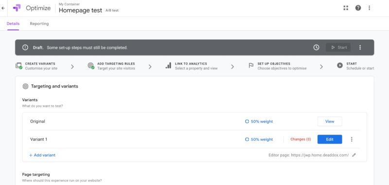 The Google Optimize dashboard.