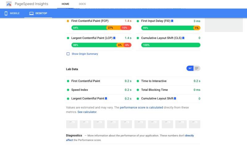 The Google PageSpeed PSI platform.