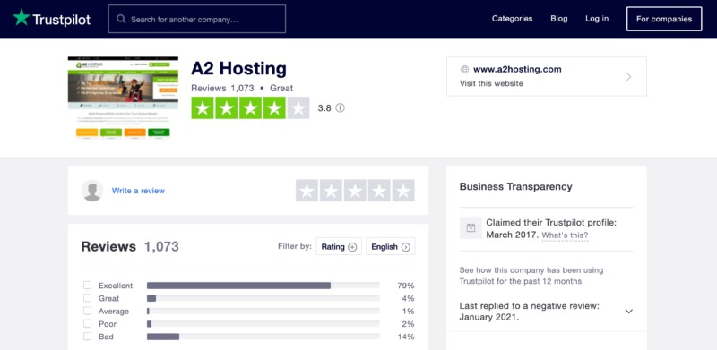 The A2 Hosting TrustPilot review page.