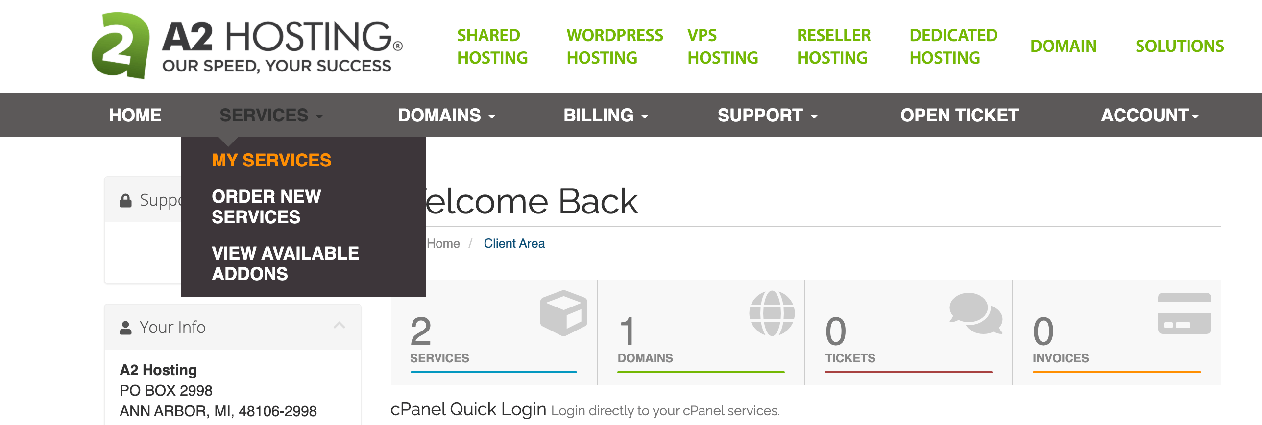 The 'Services' tab of the A2 Hosting Customer Portal menu.