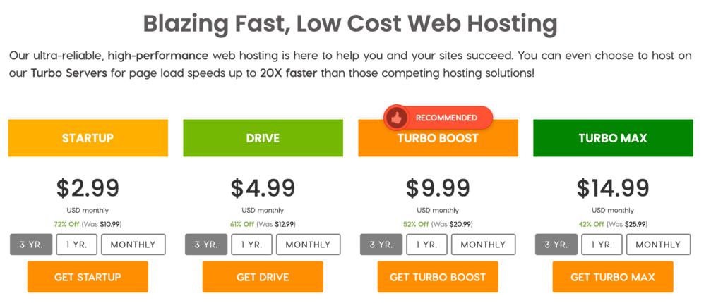 A2's shared blog hosting plans.