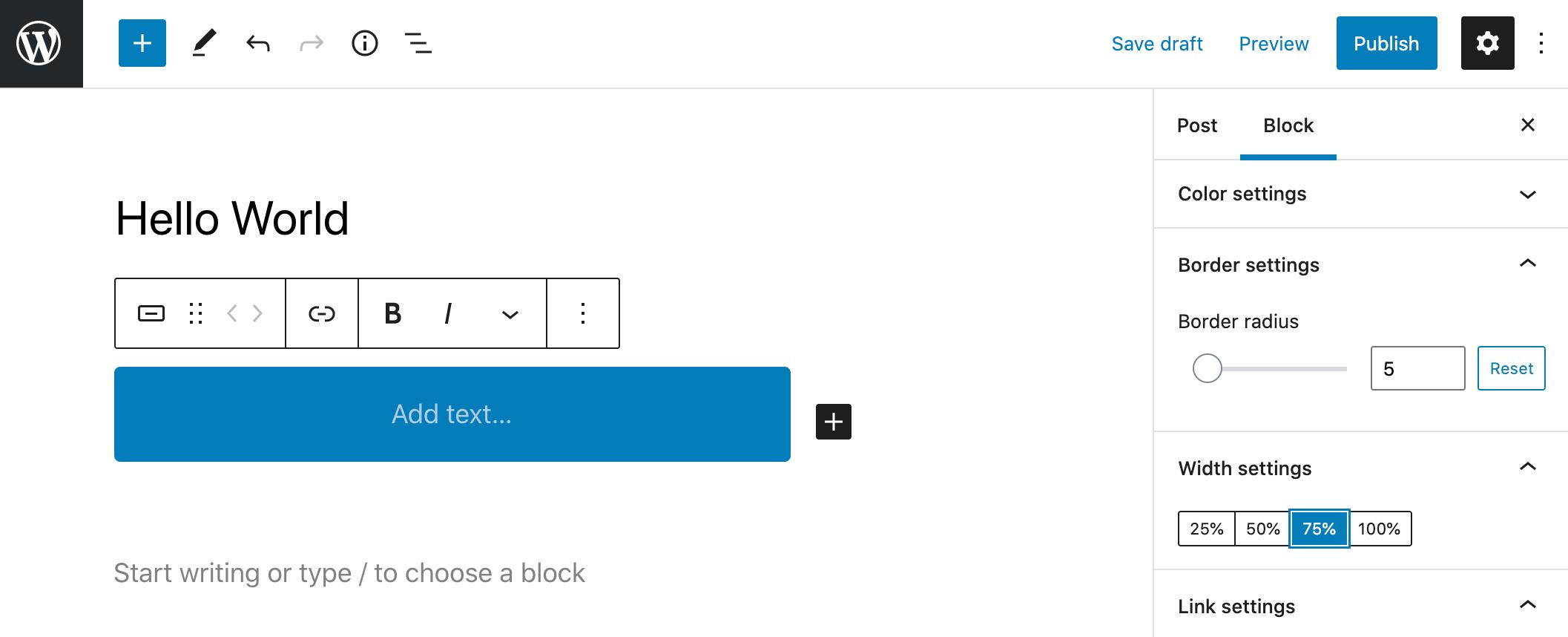 WordPress 5.7 Esperanza's button dimension settings.
