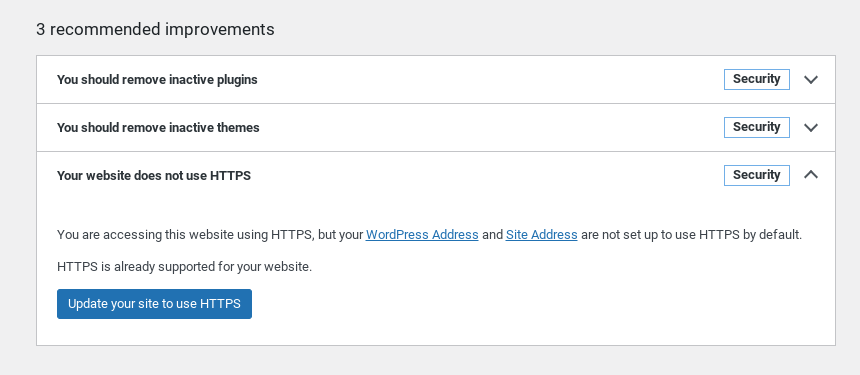 The button to update WordPress site to HTTPS.