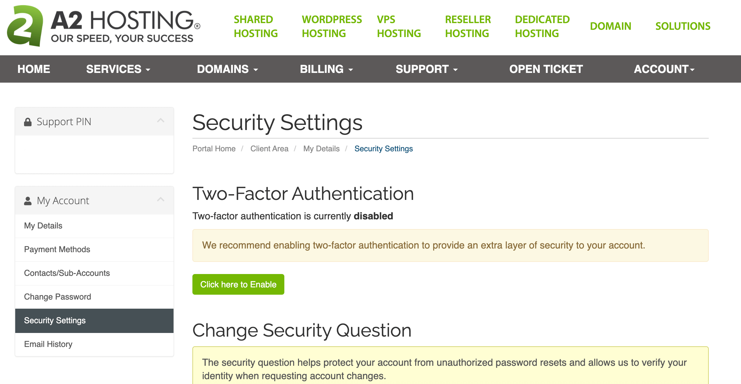A2 Hosting's Two-Factor Authentication settings.