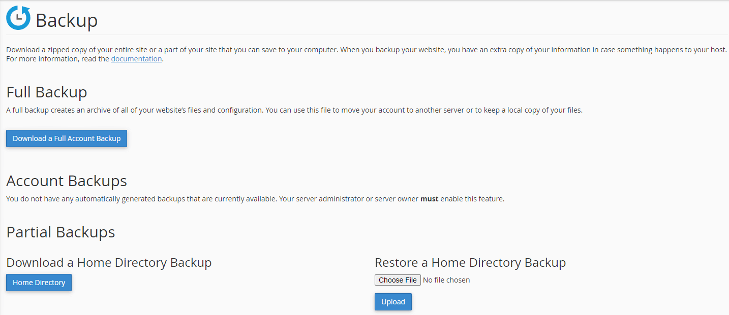 Website backup options in cPanel.