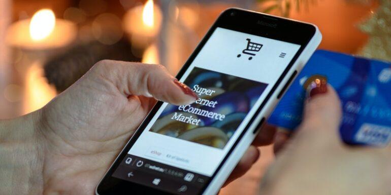 An e-commerce website on a phone.