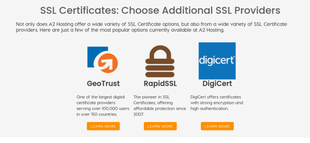 The A2 Hosting SSL certificate options.