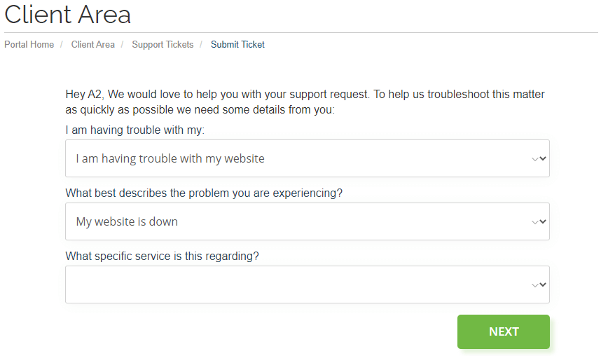 Submitting a support ticket.