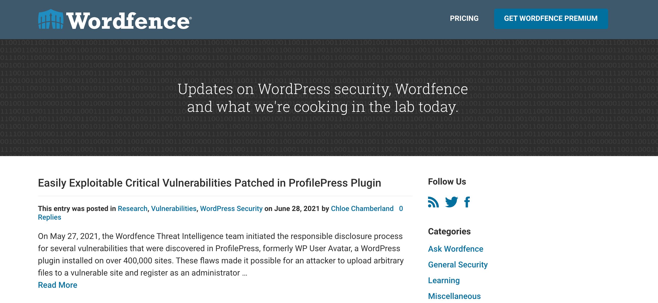 The Wordfence security blog.
