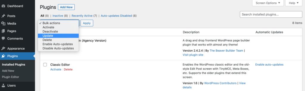 The WordPress Bulk Actions plugin dropdown.