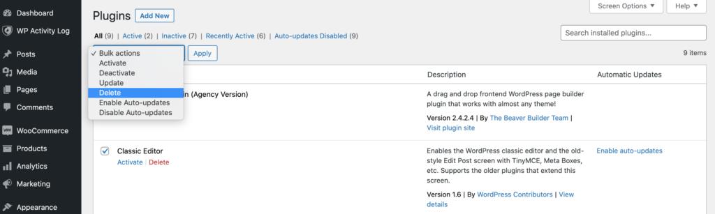 The WordPress plugins dasshboard.