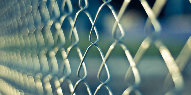 A chain link fence.