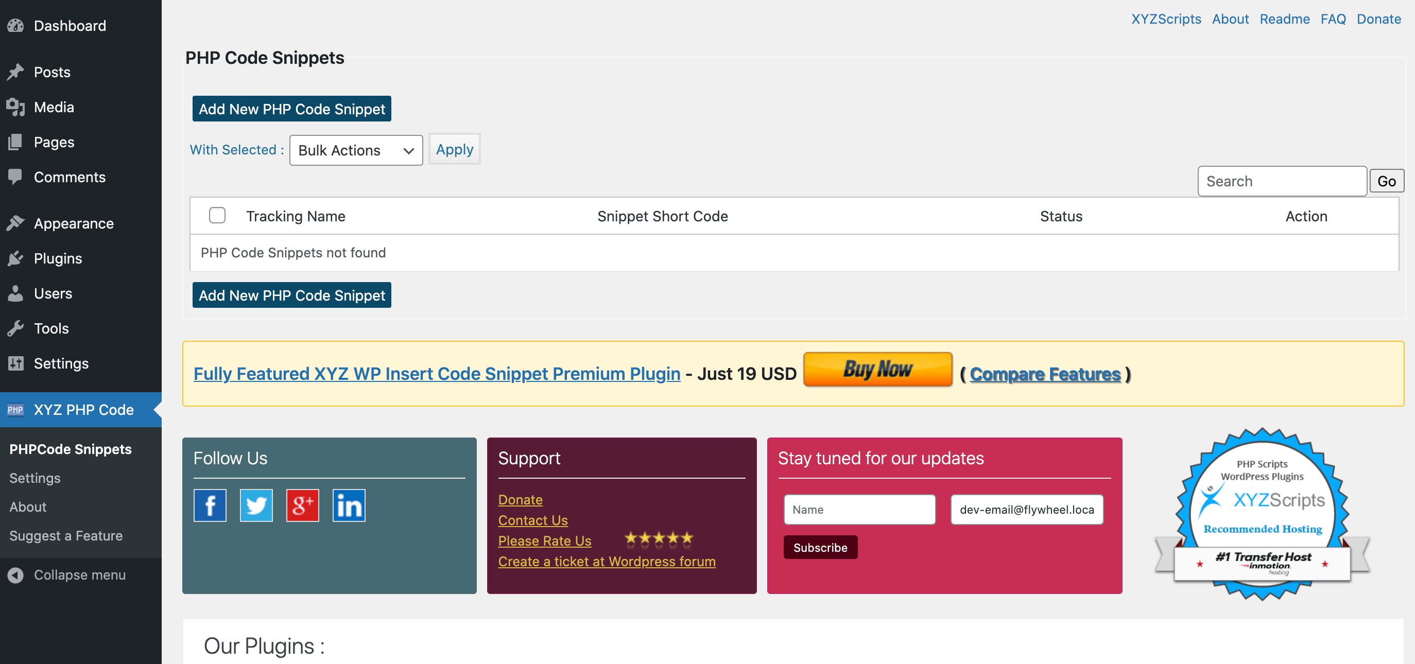The PHP Code Snippets plugin.