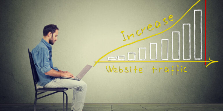 man with increased web traffic