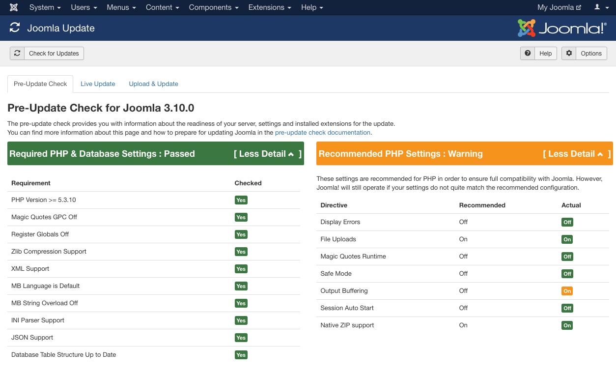 Pre-Update Check for Joomla 3.10.0