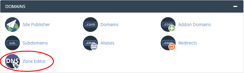 cPanel - Domains - DNS Zone Editor icon