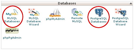 cPanel - Databases - MySQL and PostgreSQL