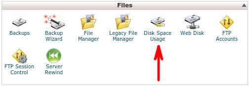 cPanel - Files section - Disk Space Usage
