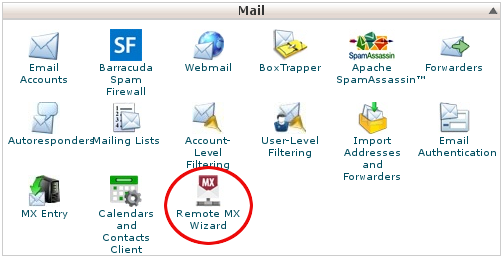 cPanel - Mail features - Remote MX Wizard icon