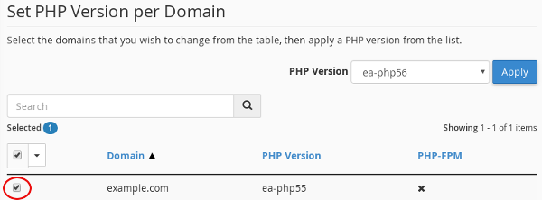 cPanel - MultiPHP Manager - Select domain
