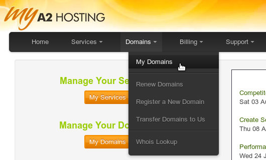 Advanced domain management - A2 Hosting