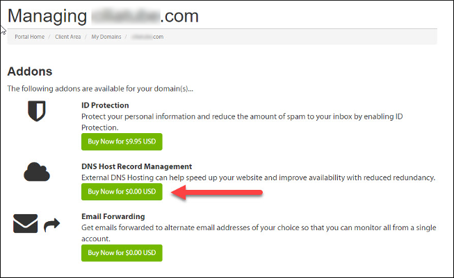 Customer Portal - Order DNS Host Record Management
