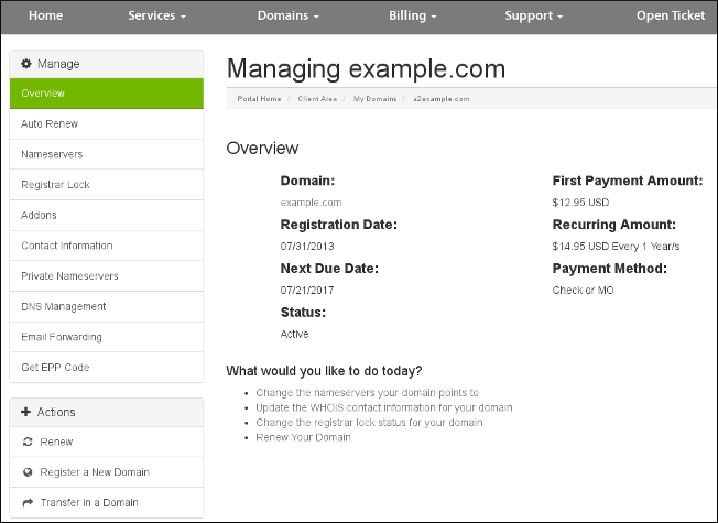 Customer Portal - Domains - Information page