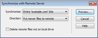 Dreamweaver - Synchronize with Remote Server