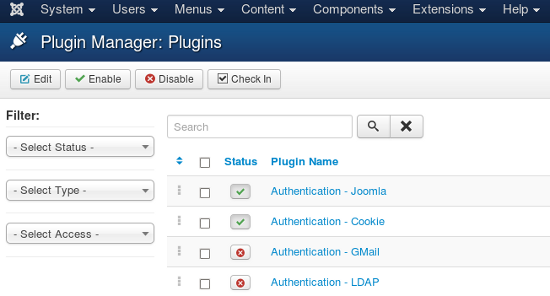 Joomla Plugin Manager