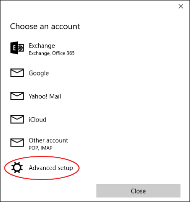 Microsoft Mail - Choose an account - Advanced setup